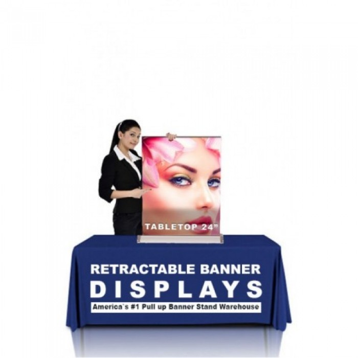 24 X 54 Black Personalized Silverstep Tabletop Clamp Bar Fabric Graphic Package Stand /& Graphic